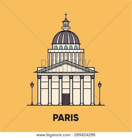 France, Paris, Pantheon, Vector Travel Illustration, Flat Icon, Yellow Background.