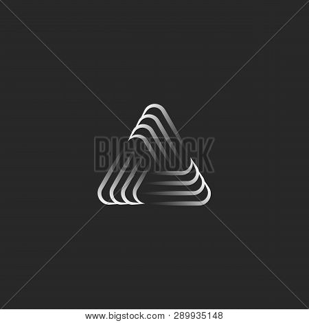 Triangle Logo Alliance Symbol, Infinity Geometric Shape, Black And White Overlapping Thin Lines Hips