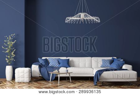 Interior Of Modern Living Room With White Fabric Sofa, Coffee Table And Plant Over Blue Wall 3d Rend