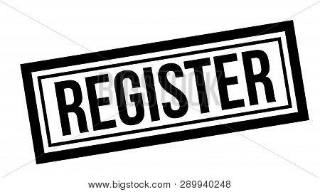 Register Typographic Stamp, Sign, Label. Black Rubber Stamp Series