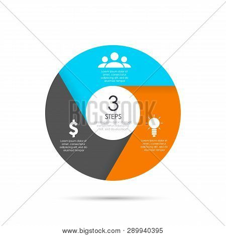 Vector Circle Template For Infographics. Business Concept With 3 Elements, Steps Or Options.