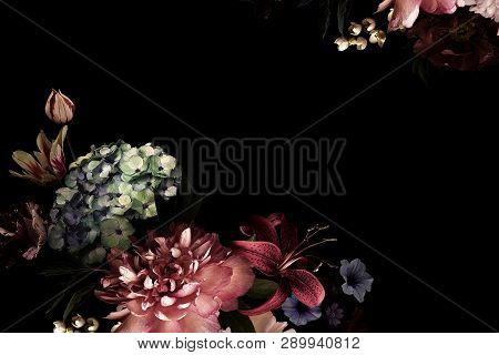 Vintage Flowers. Peonies, Tulips, Lily, Hydrangea On Black. For Business Cards, Covers, Cosmetics An