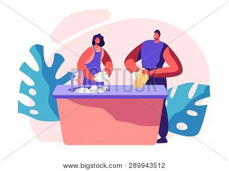 Family Kitchen Cleaning Time. Housework, Chores Domestic Working Dishes, Cleanliness And Routine. Pe
