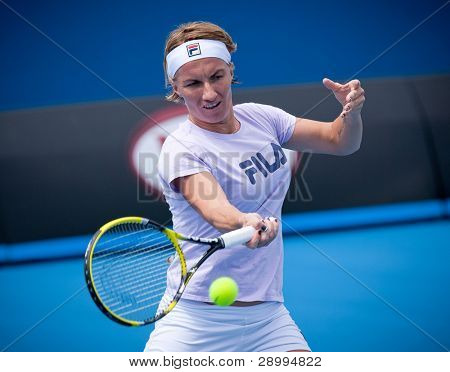 MELBOURNE - JANUARY 14: Svetlana Kuznetsova practices in the lead up to the 2012 Australian Open on January 14, 2012 in Melbourne, Australia.