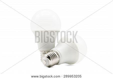 Close Up Of 2 Led White Light Bulb Isolated On White Background. Clipping Path -image.