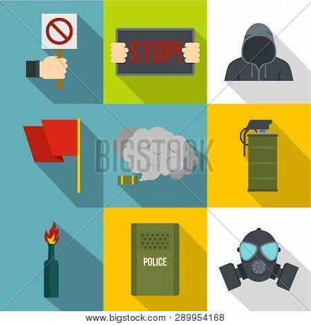 Political Revolt Icon Set. Flat Style Set Of 9 Political Revolt Icons For Web Design