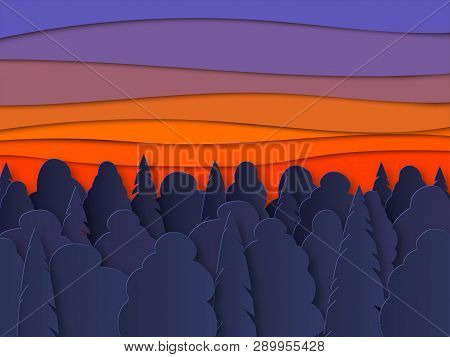 Vector Landscape With Forest Silhouettes Before Sunrise. Beautiful Illustration Of Sunset, Untouched
