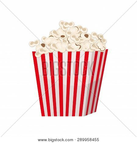 Biggest full red-and-white striped popcorn bucket isolated on white background. poster