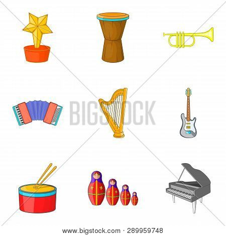 Musical Notation Icons Set. Cartoon Set Of 9 Musical Notation Icons For Web Isolated On White Backgr