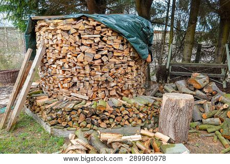A Very Large Pile Of Chopped Wood