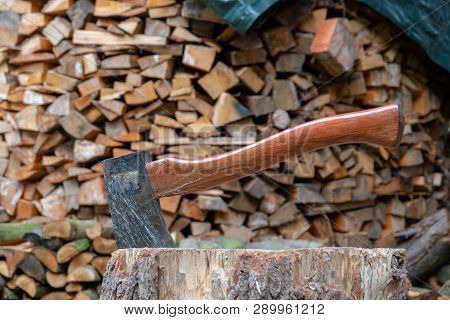 An Brown Old Axe For Chopping Wood
