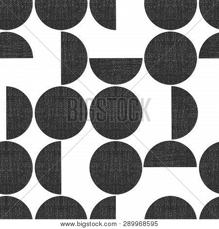 Modern Seamless Geometric Vector Pattern Semicircles Circles Grunge Texture. Abstract Background Mon