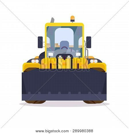 Front View Of Yellow Bulldozer Or Wheel Loader. Flat Style Vector Illustration. Construction Vehicle