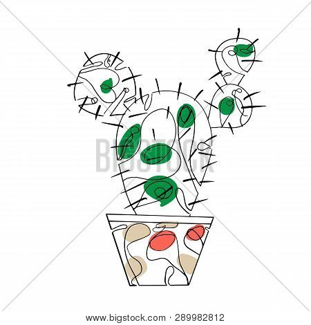 Cactus In A Pot. Linear Art. Vector Illustration