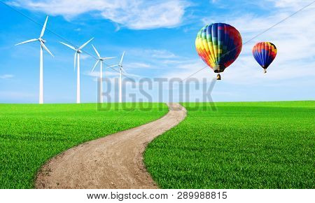 Renewable Energy With Wind Turbines. Wind Turbine In Green Hill. Ecology Environmental Background Fo