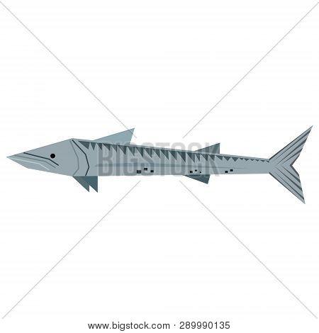 Sturgeon Fish Geometric Style Illustration. Underwater World Exotic Fish Series