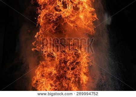 Closeup Fire Flames From Gas Explosion On Black Background.