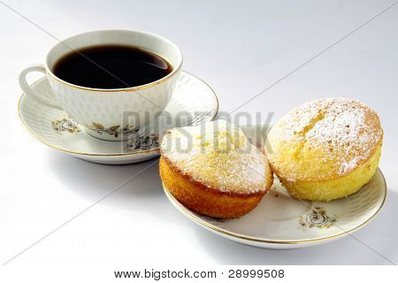cupcakes and cup of black coffee