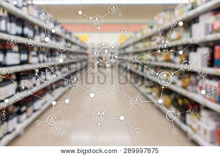 Shopping Cart Ecommerce Marketing Channel Distribution Concept On Supermarket Background.