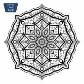 Mandala. Coloring book pages. Indian antistress medallion. Abstract islamic flower, arabic henna design, yoga symbol. Vector illustration e poster