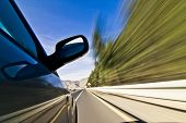 Abstract blurred action from car at high speed poster
