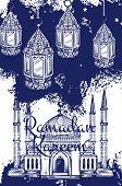 Ramadan Kareem festive lantern and islam religion mosque sketches. Muslim masjid, crescent and arabian lamps, islamic calendar fasting month Ramazan vector design poster