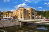 National library in Sarajevo - Bosnia and Herzegovina - architecture travel background poster