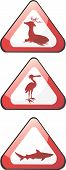 Illustration of three triangle boards with deer crane and fish poster