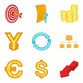 Valuation icons set. Cartoon set of 9 valuation icons for web isolated on white background poster