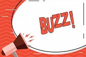 Word writing text Buzz. Business concept for Hum Murmur Drone Fizz Ring Sibilation Whir Alarm Beep Chime. poster