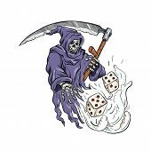 Drawing sketch style illustration of the personification of death, the Grim Reaper holding a scythe throwing and rolling the dice on isolated white background done in color. poster