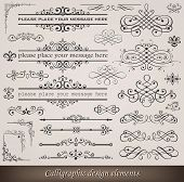 Vector illustration of calligraphic elements and page decoration poster