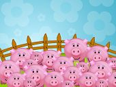 Illustration of many pink pigs in a farm poster