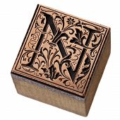 ornamental initial letter N - copper and wood vintage letterpress printing block poster