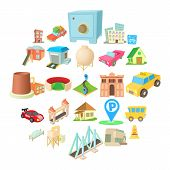 Vast city icons set. Cartoon set of 25 vast city icons for web isolated on white background poster