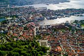 Bergen is a city and municipality in Hordaland on the west coast of Norway. Bergen is the second-largest city in Norway. The view from the height of bird flight. Aerial FPV drone flights. poster