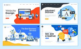 Set Of Flat Design Web Page Templates Of Graphic Design, Website Design And Development, Social Medi