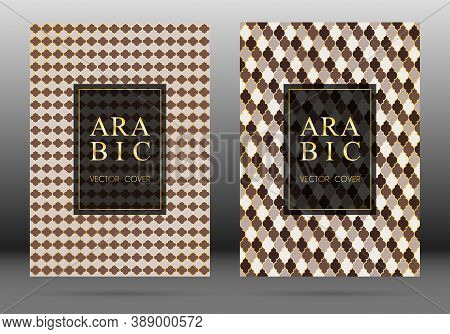 Osman Pattern Vector Cover Page Layout Design Set In Arabic Style Mosaic In Gold Grid. Islamic Backg