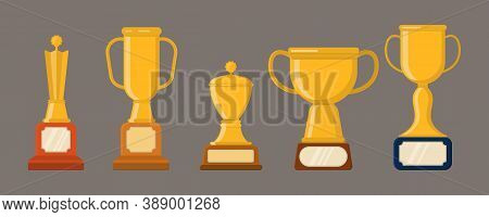 Set Of Trophies, Medals, Icons And Ribbons For Winners In Competitions. Golden Cups For Winners. Fla