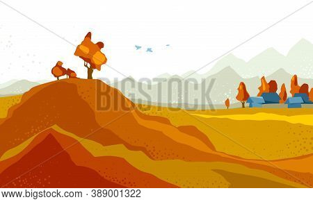 Beautiful Scenic Nature Landscape Vector Illustration Autumn Season With Grasslands Meadows Hills An
