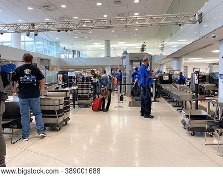 St. Louis, Mo/usa - 10/2/20:  The Tsa Security At St. Louis, Mo Lambert International Airport Stl.