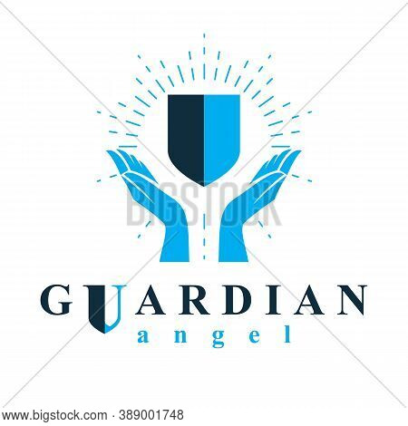 Shield Vector Graphic Illustration, Safety And Security Metaphor Symbol. Guardian Angel Vector Abstr
