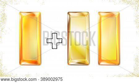 Set Gold Ingot Isolated On White Background. Realistic Precious Metal, Gold Bullion, Top View. Style