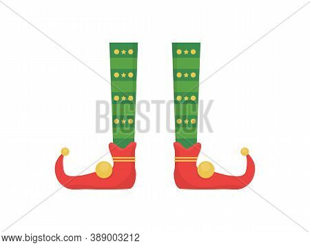 Legs Christmas Elf In Shoes With Bells. Santa Helpers Shoes And Pants. Collection Of Cute Elves Legs
