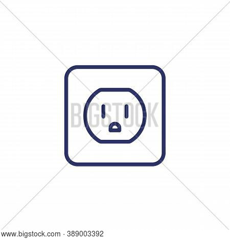 Power Outlet With Type B Socket, Vector Line Icon, Eps 10 File, Easy To Edit