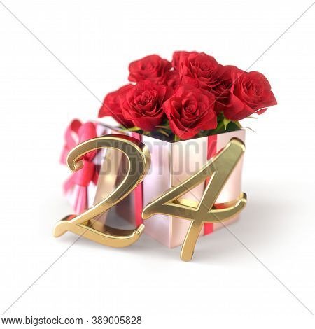 Birthday Concept With Red Roses In Gift Isolated On White Background. Twenty-fourth. 24th. 3d Render