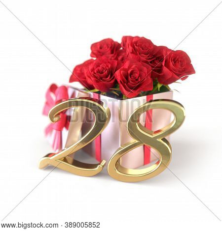 Birthday Concept With Red Roses In Gift Isolated On White Background. Twenty-eighth. 28th. 3d Render