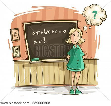Schoolgirl at lesson in school. Girl by blackboard discouraged thinks on decision of task with equation of mathematics. Hand drawn cartoon character, isolated white background. 3D illustration.