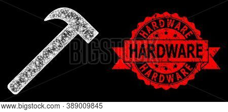 Bright Mesh Polygonal Hammer Tool With Glowing Spots, And Hardware Rubber Ribbon Stamp Seal. Red Sta