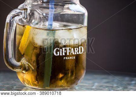 Belgrade, Serbia - August 1, 2020: Giffard France Logo On A Mason Jar Containing One Of Their Bevera